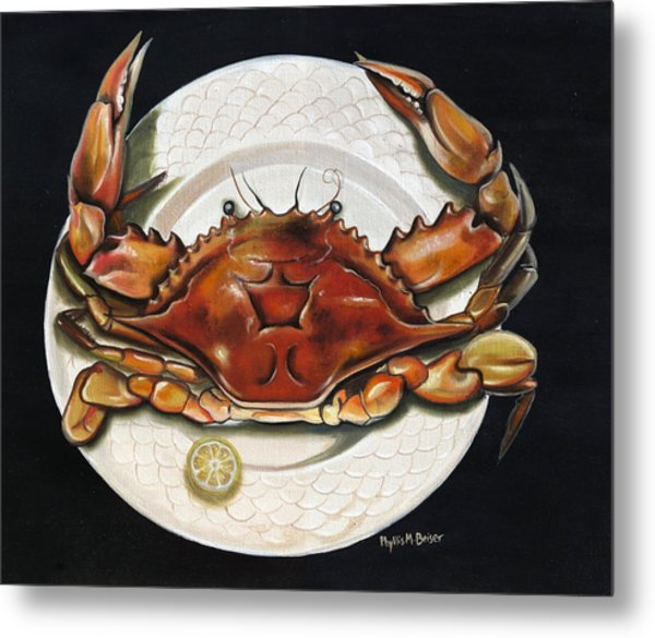 Crab  On Plate Metal Print