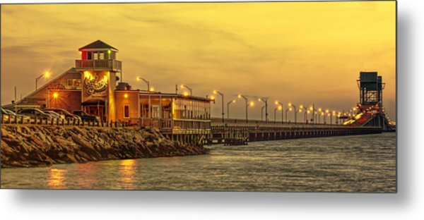 Crab Shack On The James In Amber Glow Metal Print