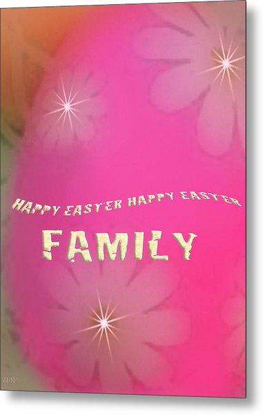 Cracked Happy Easter Metal Print by Debra     Vatalaro
