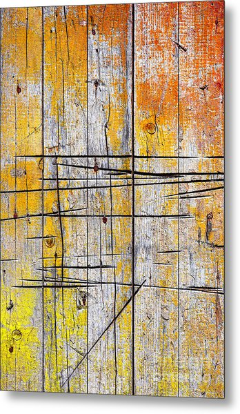 Cracked Wood Background Metal Print