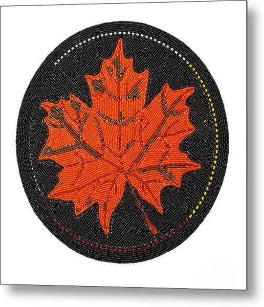 Cradleboard Beadwork Fall Maple Leaf Metal Print