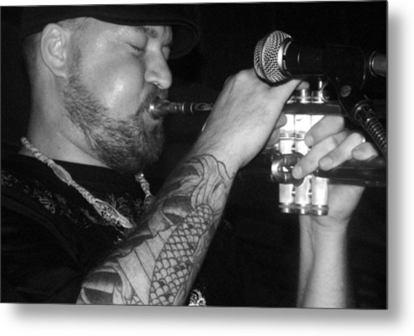 Craig Sorrells Trumpet And Tatoo Metal Print by Cleaster Cotton