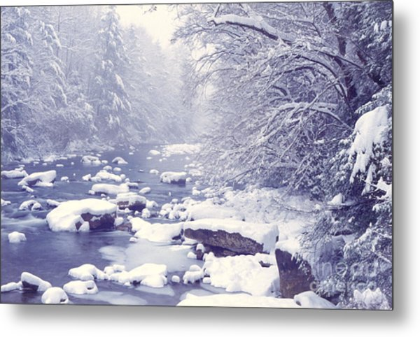 Cranberry River Heavy Snow Metal Print