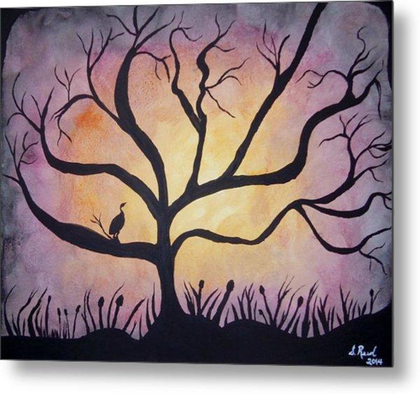 Crane At Sunset Metal Print by Susan Reed