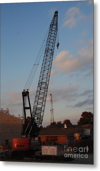 Crane At Work Metal Print