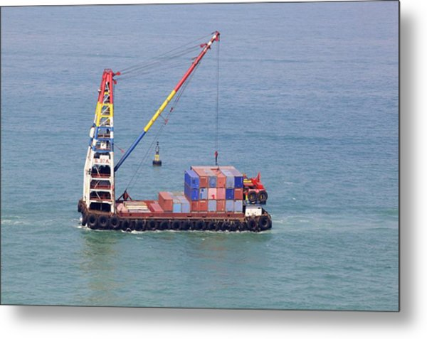 Crane Barge With Cargo Metal Print by Science Photo Library