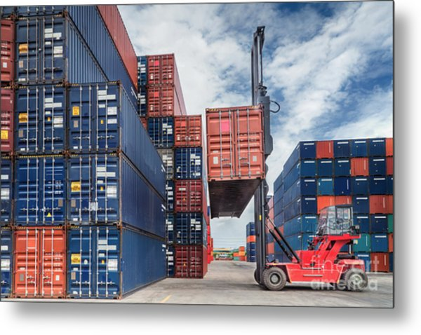 Crane Lifter Handling Container Box  Metal Print