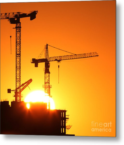 Cranes At Sunrise Metal Print