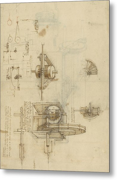 Crank Spinning Machine With Several Details Metal Print