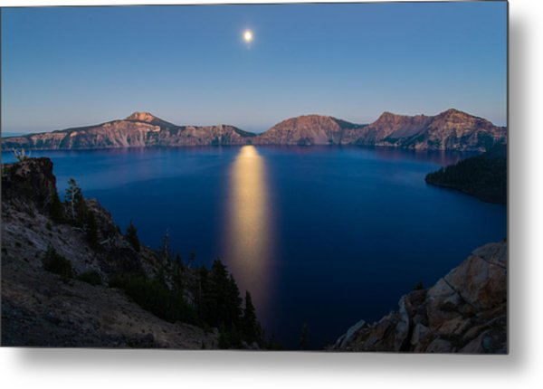 Crater Lake Moonrise Metal Print