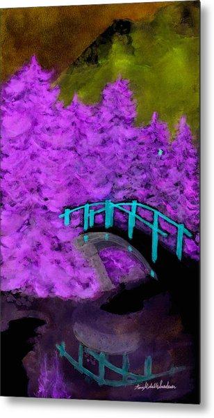 Crazy Exposure Bridge Over Frozen Water Metal Print