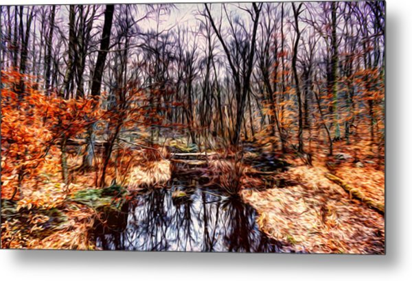 Creek At Pyramid Mountain Metal Print