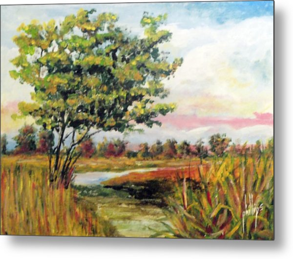 Crepe Myrtle In The Wetlands Metal Print