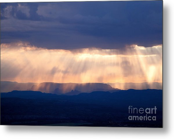 Crepuscular Light Rays Just After Sunrise On Sedona Arizona As Seen From Jerome Metal Print