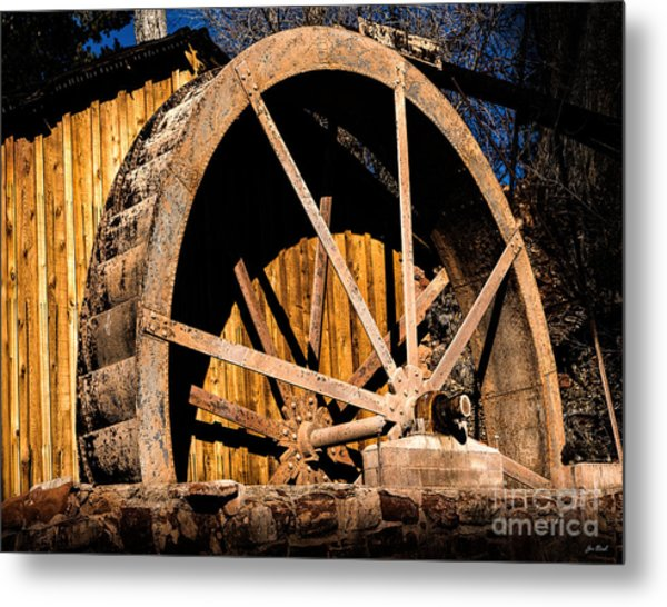 Old Building And Water Wheel Metal Print