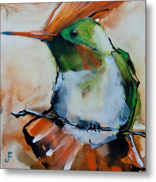 Crested Croquette Hummingbird Metal Print