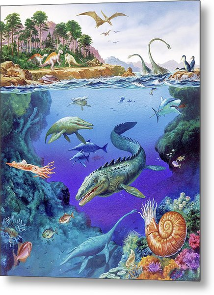 Cretaceous Period Fauna Metal Print by Christian Jegou Publiphoto Diffusion/ Science Photo Library