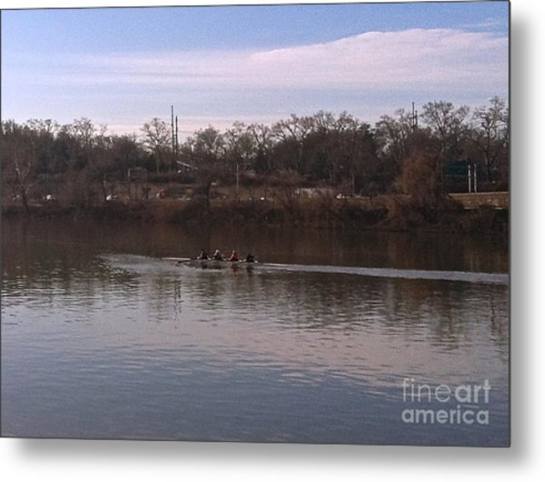 Crew On The Schuylkill - 1 Metal Print