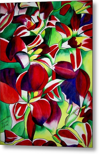 Crimson Tropical Singapore Orchids Metal Print by Sacha Grossel