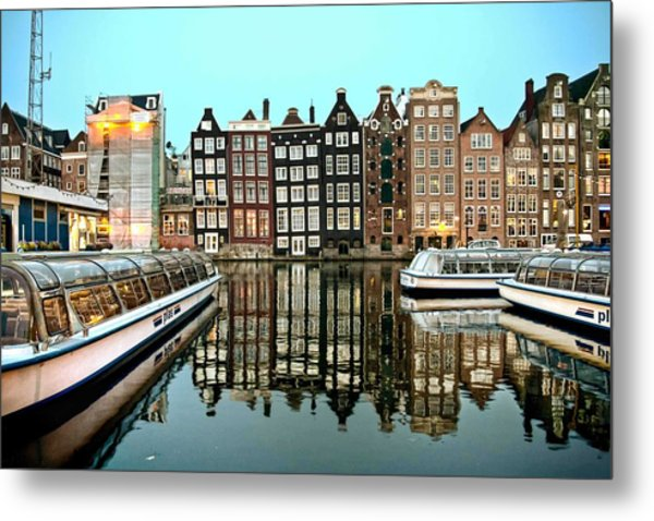 Crooked Houses On The Canal Metal Print