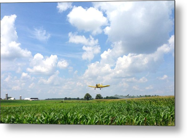 Yellow Crop Duster Metal Print