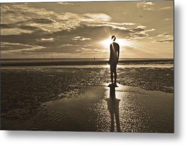 Crosby Beach Sepia Sunset Metal Print by Paul Madden