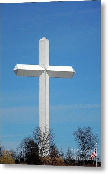 Cross And Flag Under God Metal Print