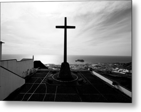 Cross Atop Old Chapel In Village  Metal Print