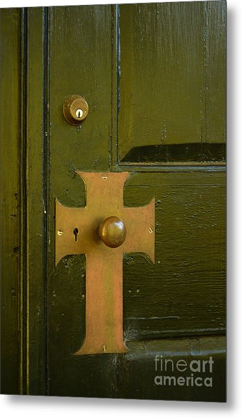 Cross Door Plate Metal Print