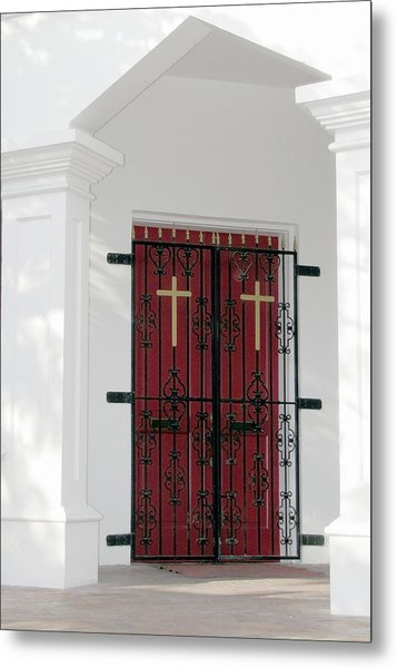Key West Church Doors Metal Print