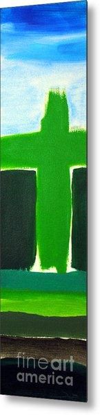 Green Cross On Hill Metal Print