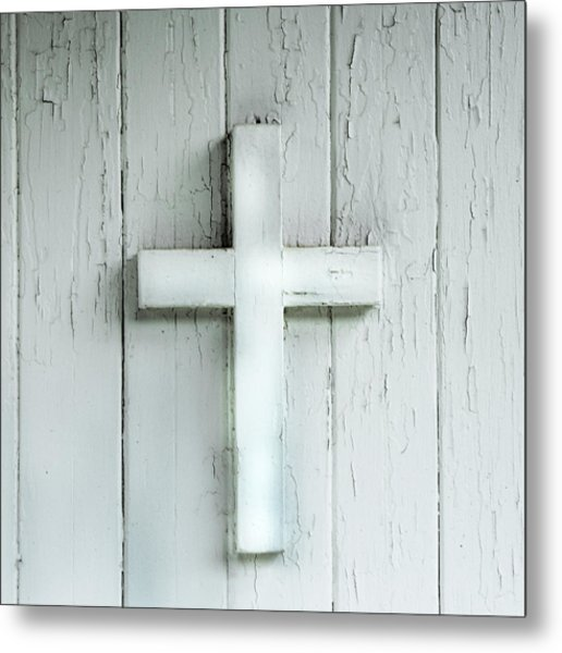 Cross On Holy Angels Sugar Island Michigan Metal Print