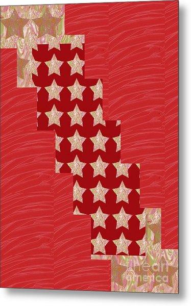 Cross Through Sparkle Stars On Red Silken Base Metal Print