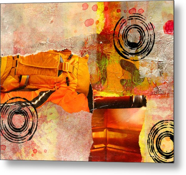 Cross Town Bus Abstract Collage Painting Metal Print