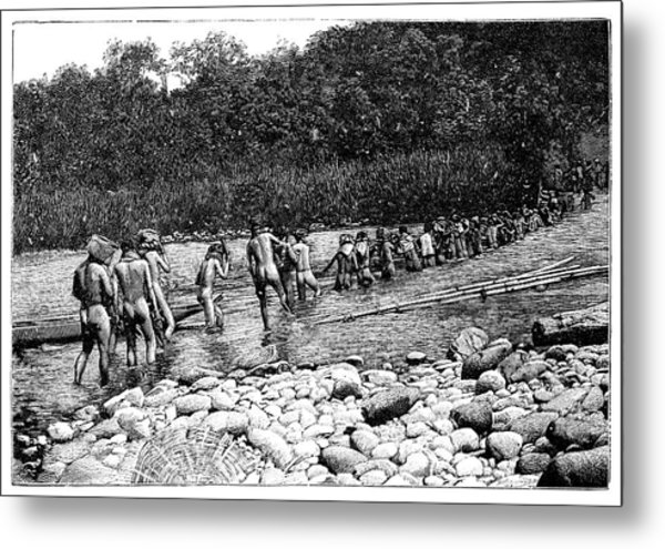 Crossing A River In Vietnam Metal Print by Science Photo Library