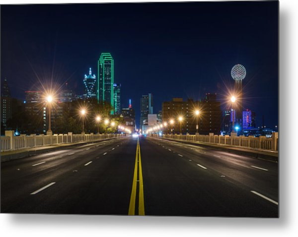 Crossing The Bridge To Downtown Dallas At Night Metal Print