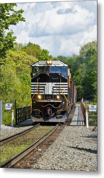 Crossing The Railroad Trestle Metal Print