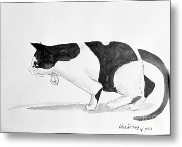 Crouching Cat Metal Print