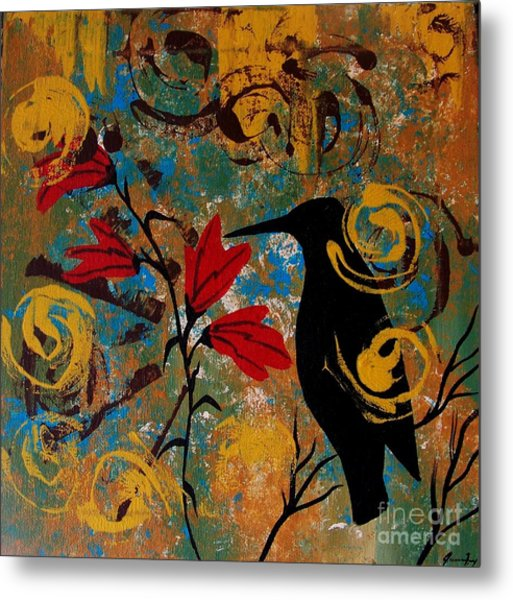Crow Healing In The Ancient Garden Metal Print