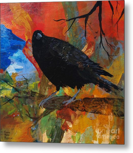 Crow On A Branch Metal Print