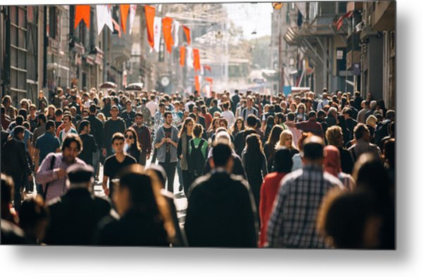 Crowded Istiklal Street In Istanbul Metal Print by Filadendron
