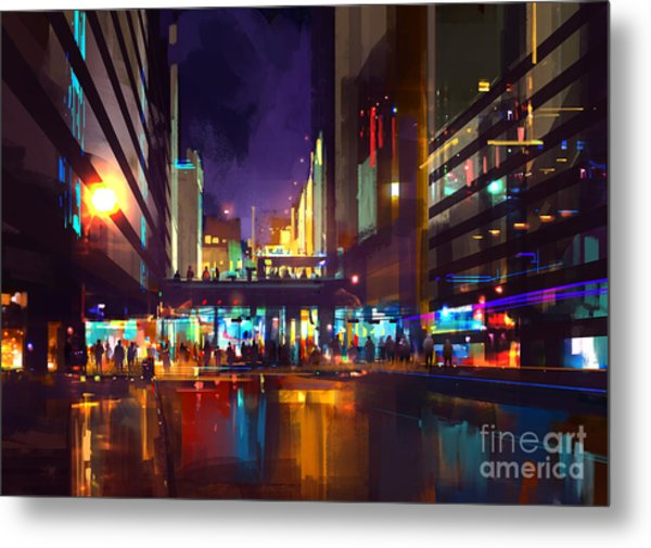 Crowds Of People At A Busy Crossing In Metal Print