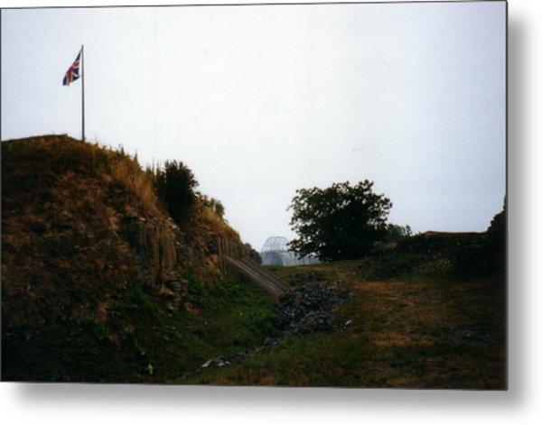 Crown Point Flag And Bridge Metal Print by David Fiske