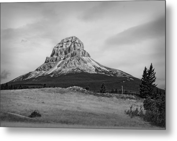Crowsnest Mountain Black And White Metal Print
