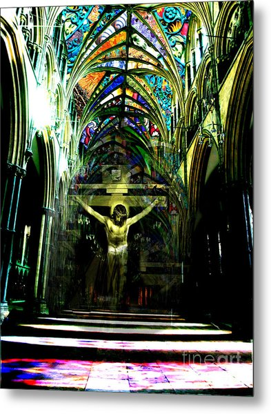 Crucifix Reflexions Metal Print