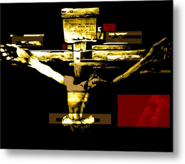Crucifixion In Red Gold And Black Metal Print