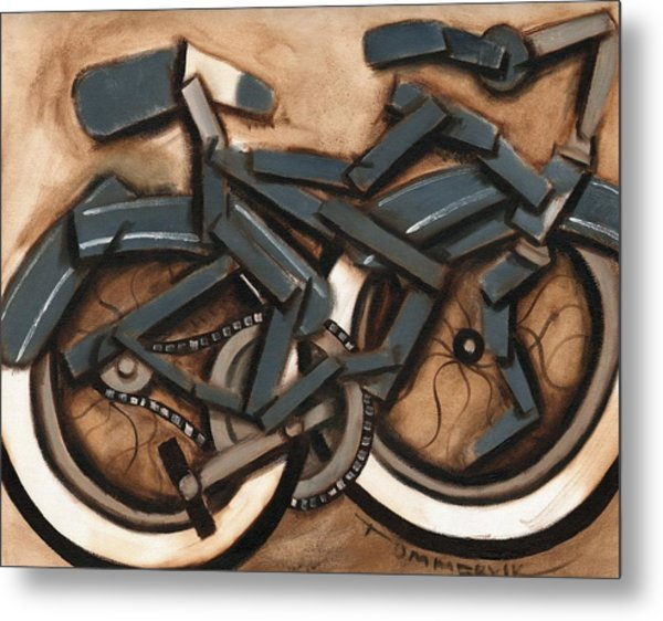 Abstract Blue Cruiser Bicycle Art Print Metal Print