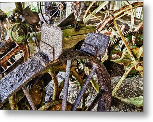 Crusty Rusty Tractor Wheels Metal Print by Robert Rus