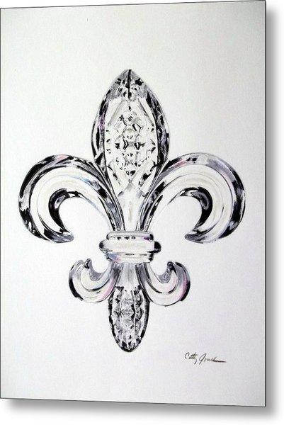 Crystal Fleur De Lis Metal Print