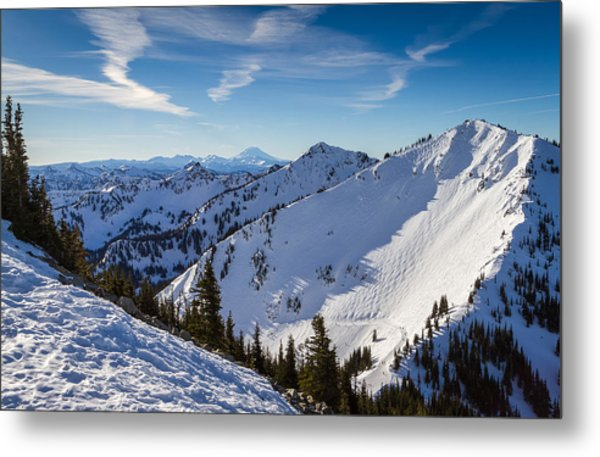 Crystal Mountain And Mt Adams Metal Print